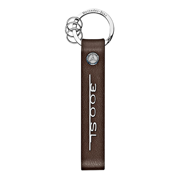 Keychain typo 300 sl brown leather genuine mercedes benz for Mercedes benz key rings for sale