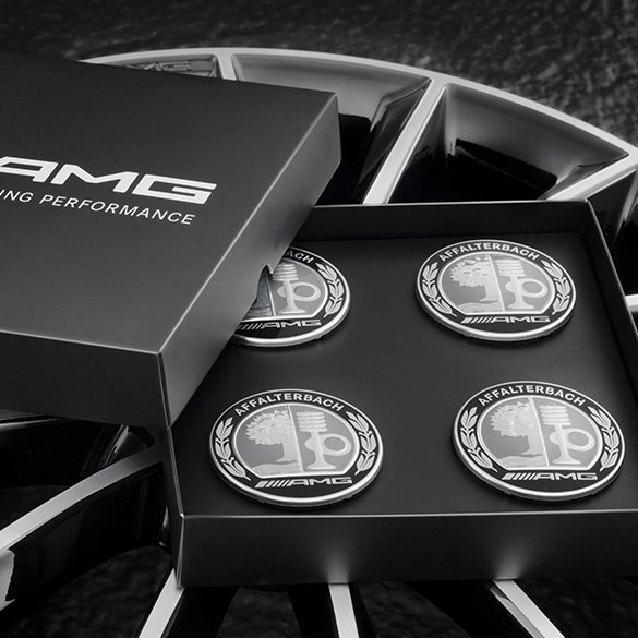 Amg hub caps with amg emblem silver black original for Mercedes benz hubcaps