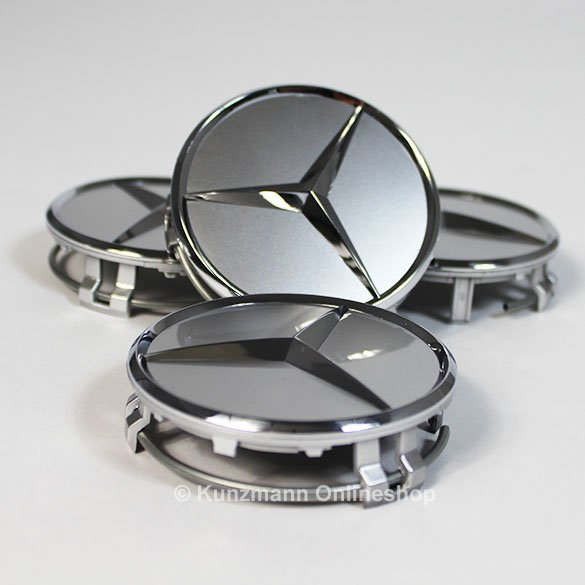 Mercedes benz hub caps in sterling silver with chrome star for Silver star mercedes benz parts