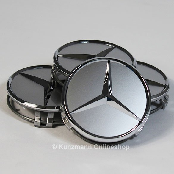 Mercedes benz hub caps in sterling silver with chrome star for Mercedes benz hubcaps