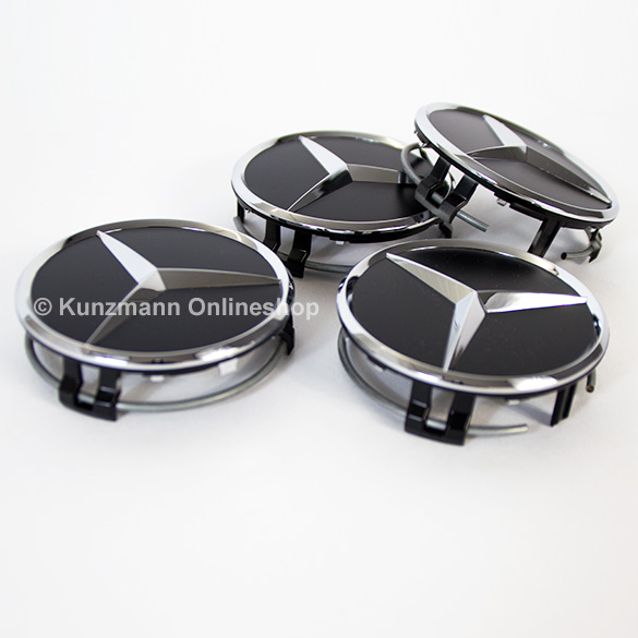 Wheel hub caps matt black with chrome star original for Mercedes benz hub caps