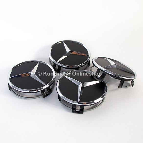 Mercedes Hub Caps : Wheel hub caps matt black with chrome star original