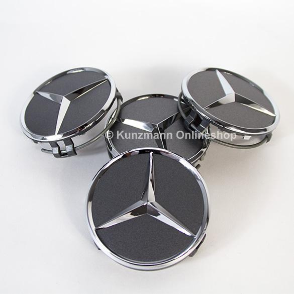 Wheel hub caps matt grey with chrome star original for Mercedes benz hub caps