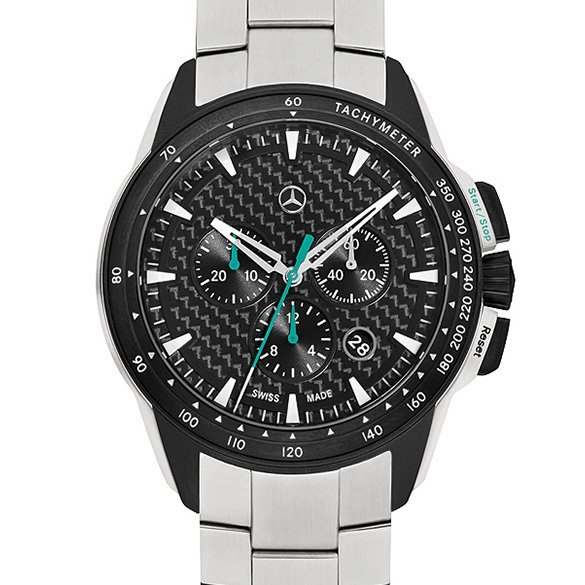 motorsport chrono silber schwarz armbanduhr chronograph original mercedes benz ebay. Black Bedroom Furniture Sets. Home Design Ideas