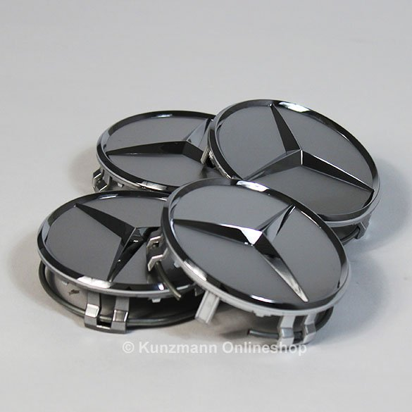 wheel hub cap sat in sterling silver with chrome star genuine Mercedes-Benz