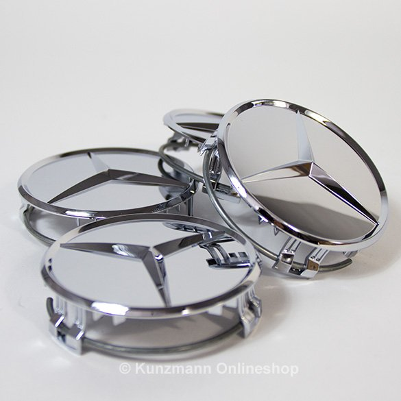 wheel hub cap set in chrome silver genuine Mercedes-Benz