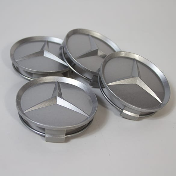 Mercedes-Benz wheel hub inserts set recessed star in silver