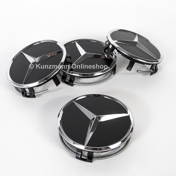 wheel hub cap set matt black with chrome star genuine Mercedes-Benz