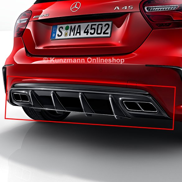 a 45 amg facelift rear diffusor genuine mercedes benz a class w176. Black Bedroom Furniture Sets. Home Design Ideas