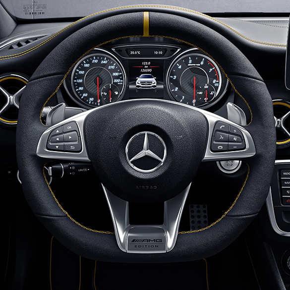 amg performance lenkrad yellow night edition a klasse w176. Black Bedroom Furniture Sets. Home Design Ideas