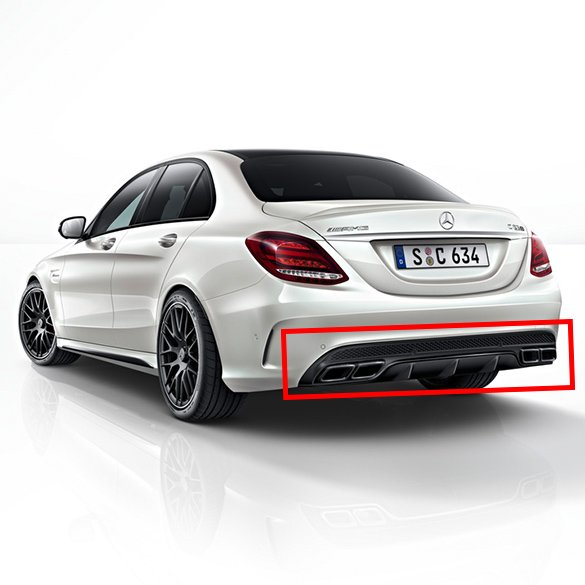original mercedes c 63 amg heckdiffusor c klasse w205 auspuffblenden nightpaket ebay. Black Bedroom Furniture Sets. Home Design Ideas