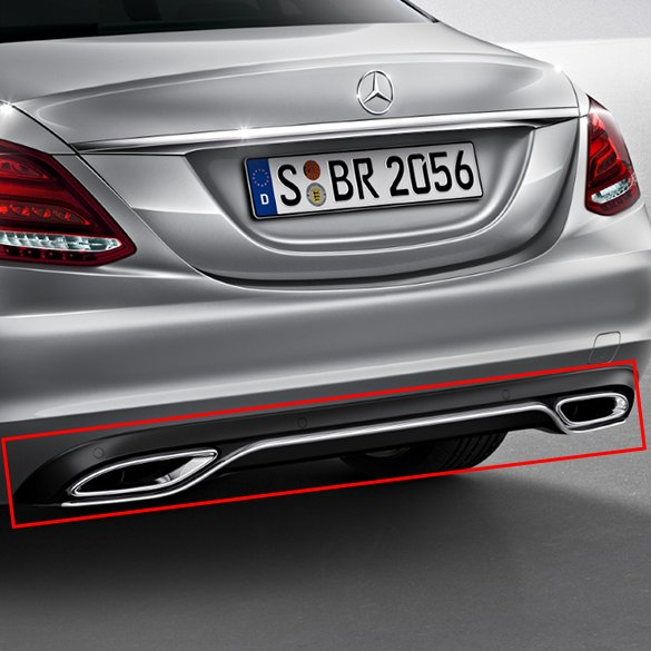 Dual branch exhaust tips c class w205 diffusor genuine for Mercedes benz c300 exhaust