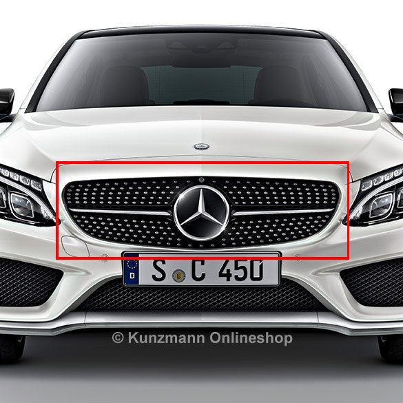 c 43 amg diamond grill with 360 camera c class w205. Black Bedroom Furniture Sets. Home Design Ideas