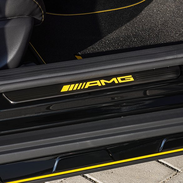 Amg door entry sill panels lighted yellow night edition for Mercedes benz door sill