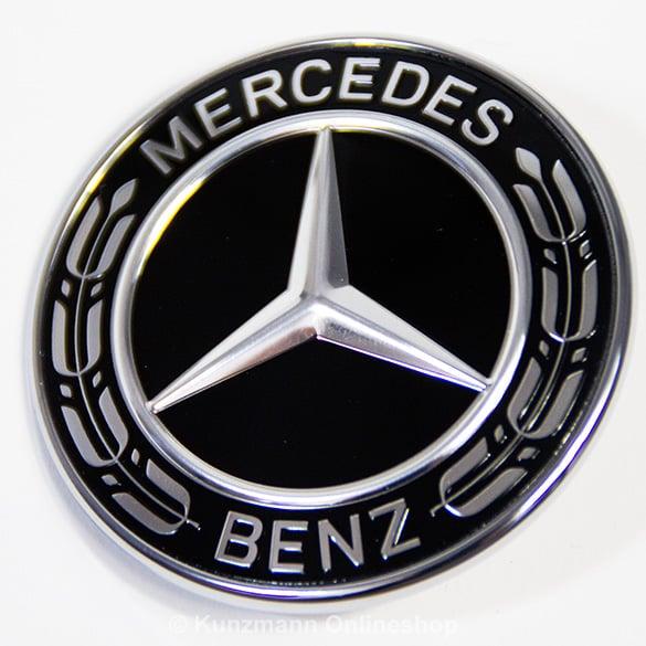 original mercedes benz stern emblem logo zeichen motorhaube schwarz neu ebay. Black Bedroom Furniture Sets. Home Design Ideas