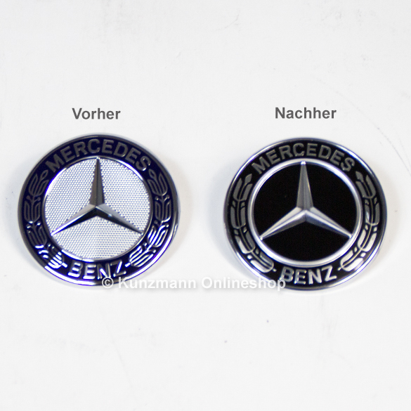 Front emblem with star black bonnet original mercedes benz for Mercedes benz bonnet badge