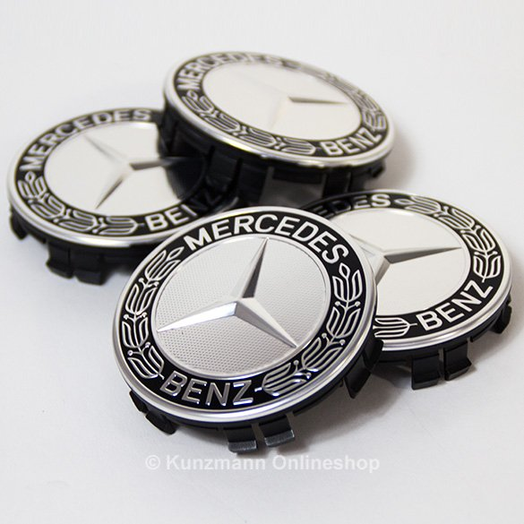Original Mercedes-Benz laurel design wheel hub inserts set in black