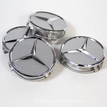 4x Original Mercedes-Benz Nabendeckel Titansilber Chrom B66470202