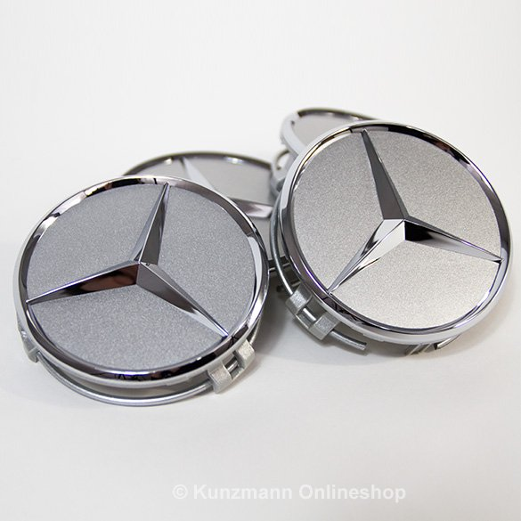 Wheel hub inserts set titanium silver genuine Mercedes-Benz