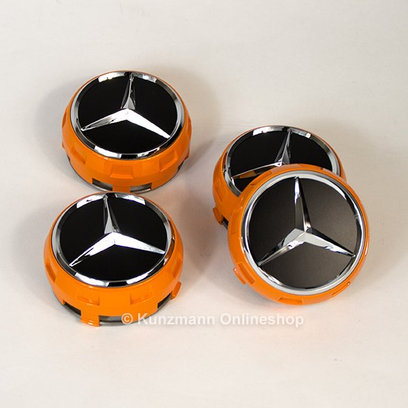 AMG Nabendeckel Zentralverschlussdesign Orange Art orange / schwarz Original Mercedes-Benz