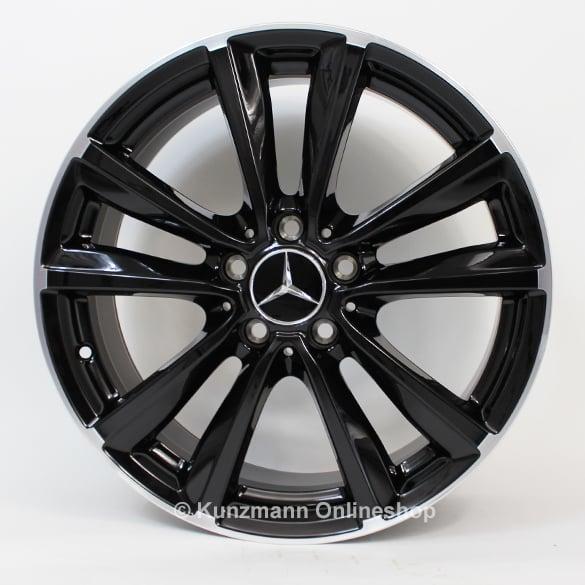 18 inch wheels set 5 twin spoke wheel black polished for Mercedes benz original wheels