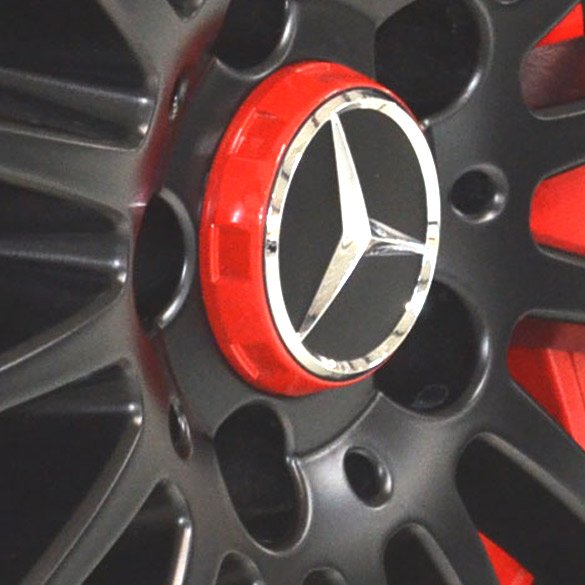 Amg center caps central locking design edition one for Red mercedes benz power wheels