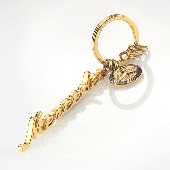 Schl sselanh nger classic gold swarovski original for Mercedes benz gold chain