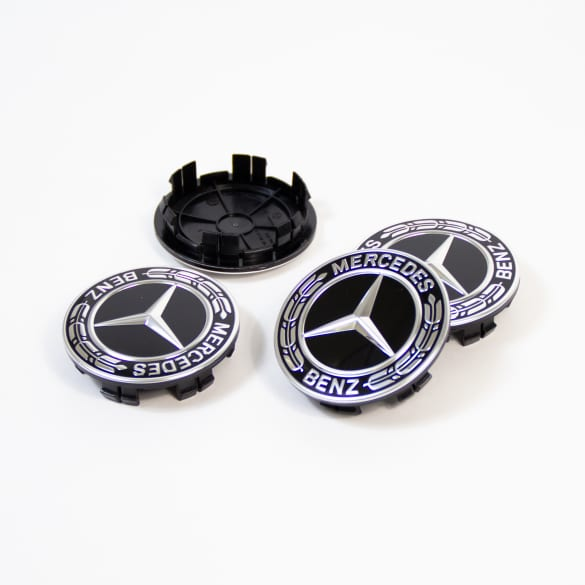 Wheel hub inserts set black laurel wreath genuine Mercedes-Benz 66,8 mm