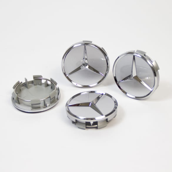 Wheel hub inserts set titanium silver genuine Mercedes-Benz 55mm