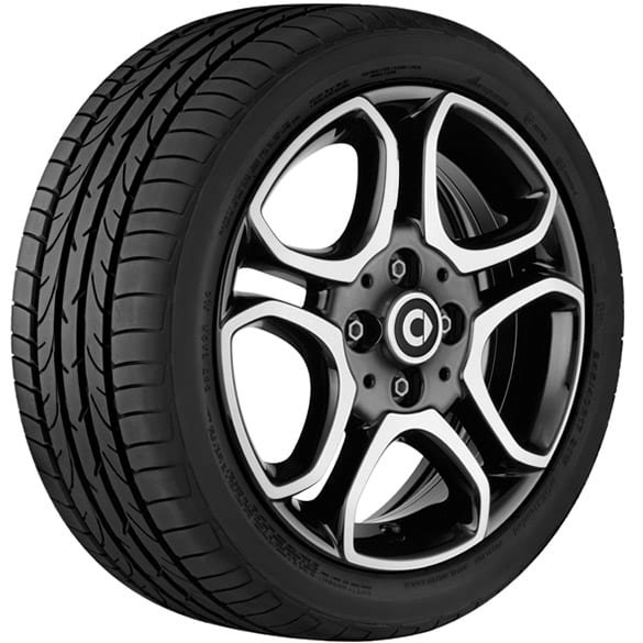15-inch rim set genuine smart 453 10-spoke-design black high-sheen