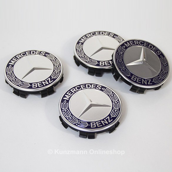 Original Mercedes-Benz laurel design wheel hub inserts set in blue