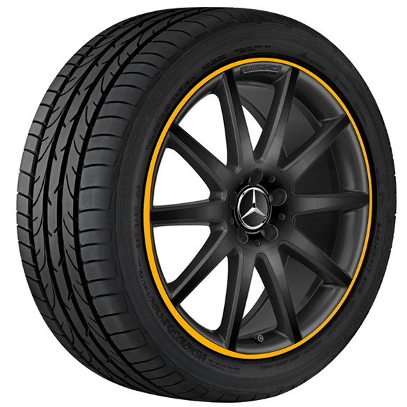 AMG 20 inch rim set Mercedes-Benz GLA X156 10-spoke-wheel black with yellow flange