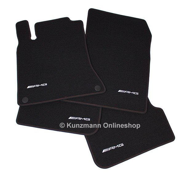 amg floor mats red cut velours black cla w117. Black Bedroom Furniture Sets. Home Design Ideas