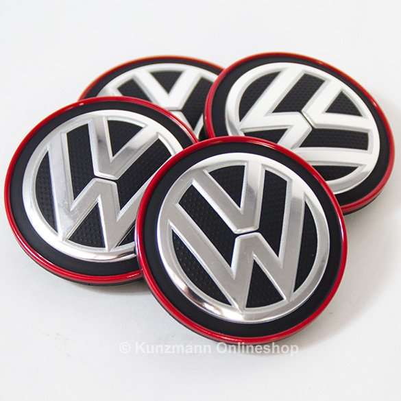 Wheel hub cap set chrome & red VW Golf 7 VII original Volkswagen